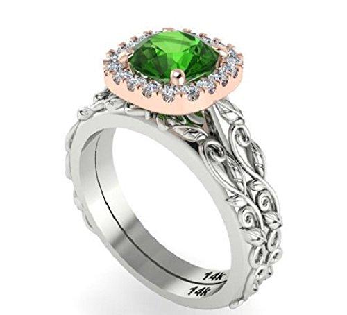 Br Two Tone Green (Bridal Wedding Rings Set, Engagement Rings, Diamonds Set, Ring Set, Diamond Cushion Halo Two Tone Ring Set, Natural Green Tourmaline.)