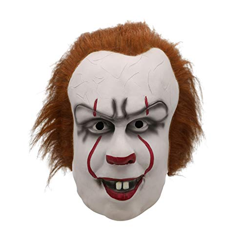 Nuoka Halloween Scary Costume Party Cosplay Latex Creepy Peenywise Clown Mask (Picture -