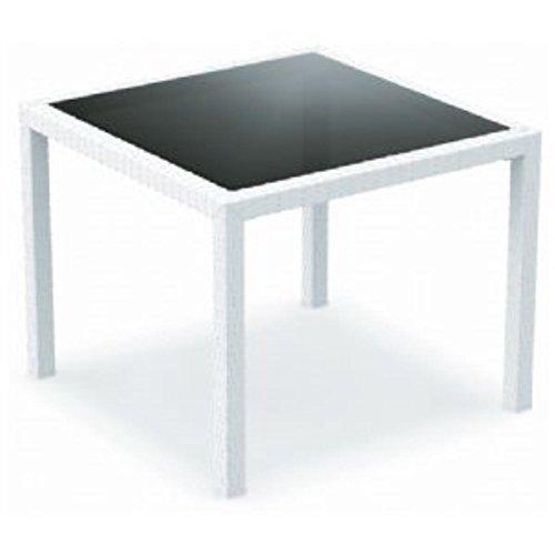 (Compamia Miami Resin Wickerlook Square Dining Table White)