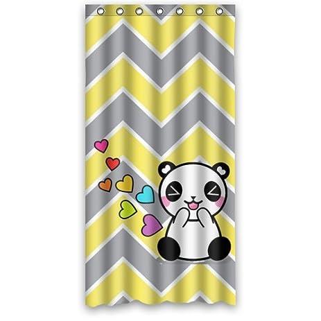 Chevron Gray Yellow Zigzag Funny Panda Shower Curtain Polyester Waterproof 36quot
