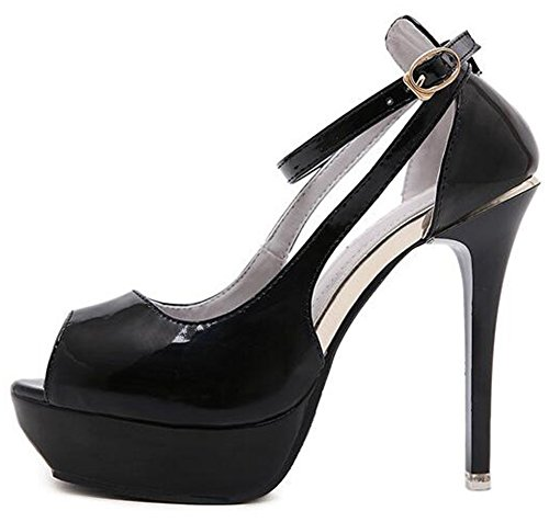 Peep Platform Toe Black Aisun Buckle Stiletto Sexy Ankle Sandals Heels Women's Strap High Eqvn4wRn