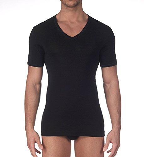 - Oscalito Egyptian Mako Cotton V-Neck T-Shirt (742) L/Black