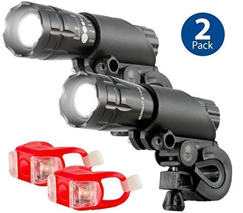 Bright Eyes Aircraft Aluminium Waterproof 300 Lumen LED Bike Light Set (Headlight, TailLight), 2 Pack (Bike Handlebar Flashlight)