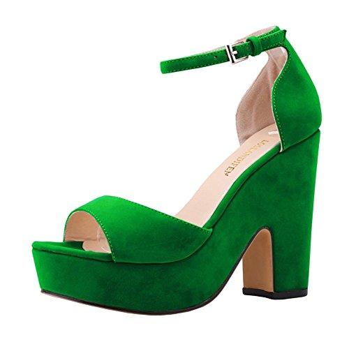 Loslandifen Women's Faux Velvet Platform Block High Heel Sandals(978-1VE42,Green)