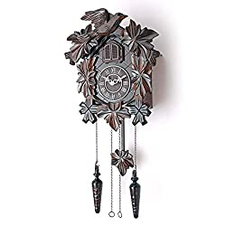 Polaris Clocks Cuckoo Clock with Night Mode, Hand Carved Birds, Weights and Swinging Pendulum (Brown, 20 Size)