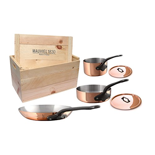 Mauviel 6530.05WC  MHeritage M250C 2.5mm Copper Cookware Set, 5pc with Wooden Crate