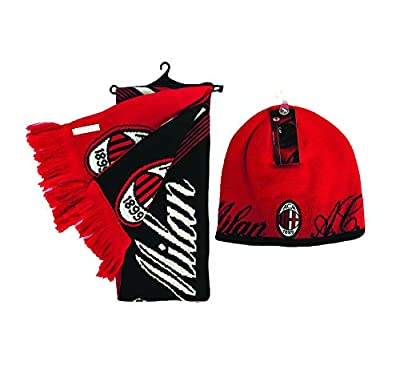 RHINOXGROUP AC Milan FC Beanie Hat and Reversible Scarf Officially Licensed Soccer Winter 003