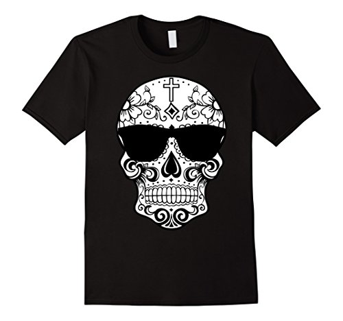 Sugar Skull Costume Male (Mens Day Of The Dead Costume TShirts Sugar Skull Pink Sunglasses Large Black)