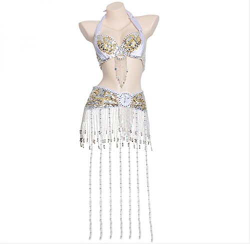 Set Con Lunga White Cintura Costumi Fatto Vestito E Per Danza Mano Frangia Donne Wqwlf Ballo Ventre s Perle S Di Del Reggiseno Da A Professionale Prestazione RqxSB7