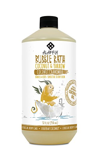 Alaffia - Everyday Coconut Bubble Bath, Gentle for Babies and Up, Supports Soft Skin and Relaxation with Yarrow, Chamomile, and Coconut Oil, Fair Trade, Naturally Foaming, Coconut Chamomile, 32 (Bubble Bath Sensitive Skin)