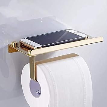 304 Stainless Steel Gold, Mirror Surface Mobilephone Shelf LareinaXXX Bathroom Toilet Paper Holder Tissue Roll