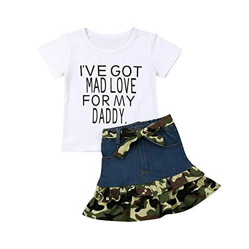 Toddler Kids Baby Girls Camouflage Denim Skirt Set with Letters Print T-Shirt Tops Fashion Clothes Outfits (White T-Shirt and Camouflage Denim Skirt Outfit, 1-2T)