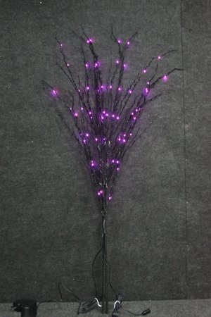 Queens of Christmas WL-DTR-03-BK-LPU Decorative LED Tree with 60 Black Twig Stake Lights on Black Branches, 3'