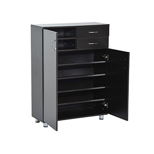 HomCom Shoe Cabinet - Wood Shelf Storage Organizer w/ Drawers - Dark Brown by HOMCOM