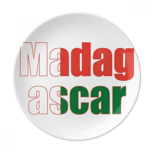 Madagascar Dinner Plates - Madagascar Country Flag Name Dessert Plate Decorative Porcelain 8 inch Dinner Home