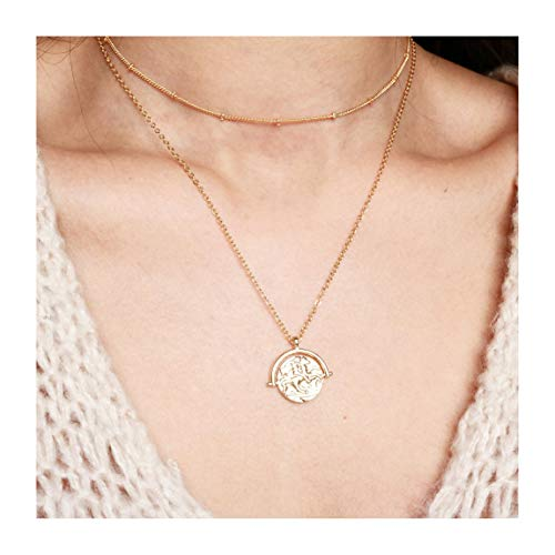 (18k Gold Plated Medallion Necklace Coin Pendant Round Circle Disk Minimalist Jewelry for Women 20'')