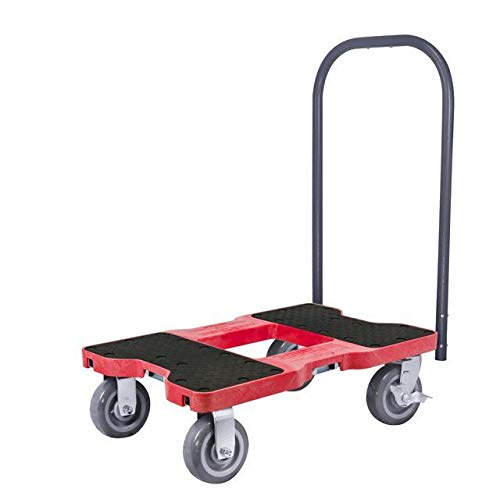 Snap-Loc 1800 Lb Super-Duty Professional E-Track Push Cart Dolly Red, Safely Moves More In Less Time With Easy Rolling Casters, Removeable Push Bar And Optional E-Strap Safety Attachment! SL1800P6R