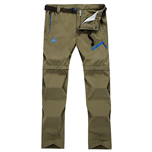 (Modern Fantasy Mens Outdoor Pants Convertible Shorts Hiking Waterproof Quick Dry for Expedition Khaki)