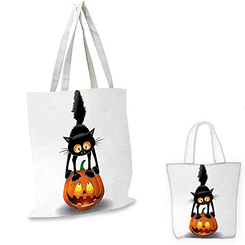 Halloween canvas shoulder bag Black Cat on Pumpkin Drawing Spooky Cartoon Characters Halloween Humor Art canvas lunch bag Orange Black. 12