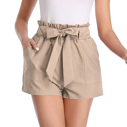 Aprance Paper Bag Shorts for Women High Waisted Tie Casual Summer Shorts with Pockets DK_XCA_S