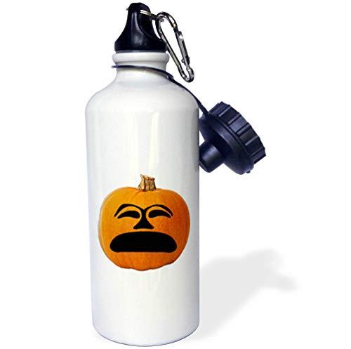 3dRose Sandy Mertens Halloween Food Designs - Jack o Lantern Unhappy Sad Face Halloween Pumpkin, 3drsmm - 21 oz Sports Water Bottle (wb_290216_1) -
