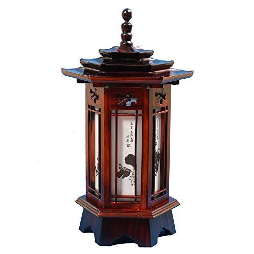 Hexagonal Carved Wood Lamp Handmade Traditional Korean Pagoda and Window Design Art Deco Lantern Brown Asian Oriental Bedside Bedroom Accent Unusual Table - Pagoda Design
