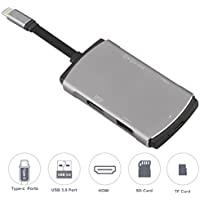 USB C Hub, USB C Adapter/Charger USB C to USB 3.1 with Type C Charging Port, USB C to HDMI Output, Card Reader, 2 USB 3.0 Ports – Silver