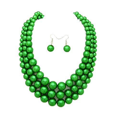 Women's Simulated Faux Three Multi-Strand Pearl Statement Necklace and Earrings Set (Green)