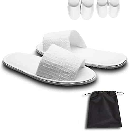 cdbe011af echoapple 10 Pairs of Waffle Open Toe White Slippers-One Size Fit Most Men  and