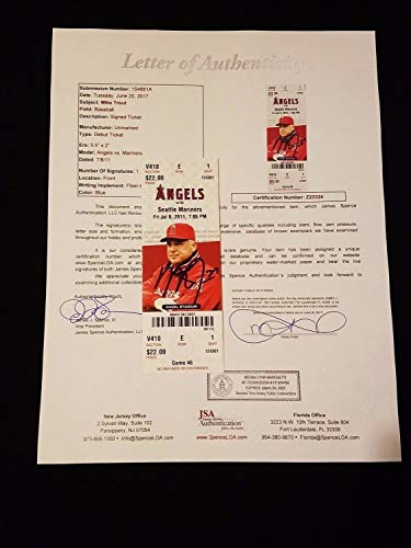 (Mike Trout Autographed Signed MLB Debut Game Ticket Stub PSA/DNA Full Letter)