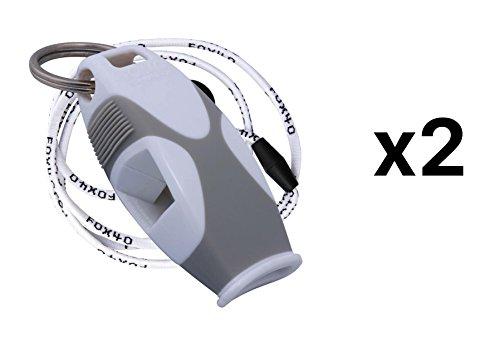 Fox 40 Sharx Pealess Whistle with Breakaway Lanyard - White/Gray (2-Pack)