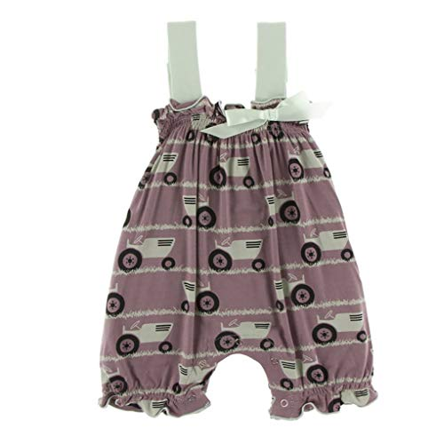 (Kickee Pants Little Girls Print Gathered Romper with Bow - Raisin Tractor and Grass, 3-6 Months )