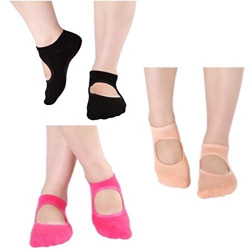 Yoga Socks for Women Non Slip Skid for Yoga Barre Pilates Ballet with Grip, 3 Pairs Socks by MagikS