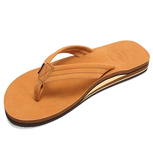 Lancholy Mens Flip Flops Arch Support Sandals for Beach, Casual, Outdoor & Indoor DNDCHTX,Light.Brown,44