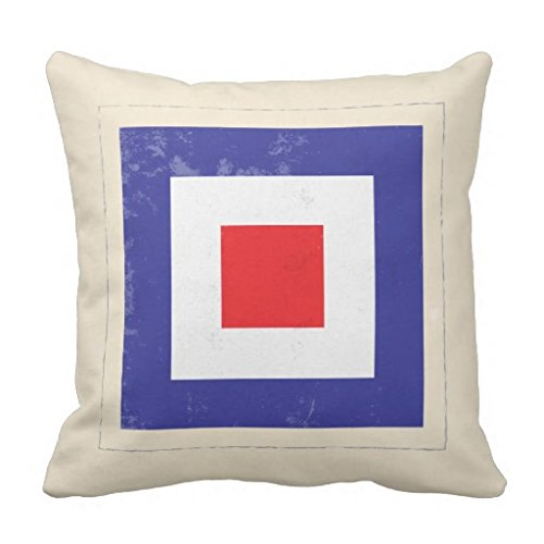 Nautical Letter ¡°W¡± Signal Flag pillow case 20*20 (Nautical Flag Pillows)