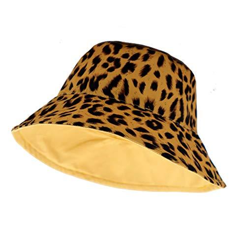 LYBAIN Leopard Print Bucket Hat Fashion Reversible Design Packable Sun Hat (Yellow)