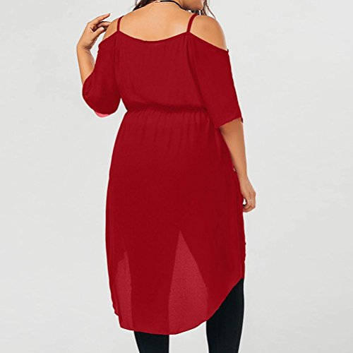 Chiffon Kanpola Camisole Color Red Flare Ladies Fit Collar Womens Shoulder Solid Dress Off Size Plus Cross Sexy Summer Loose 616gqPrwFx
