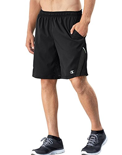 Champion Men's Vapor 6.2 Running Shorts, Black/Black Heather, Large