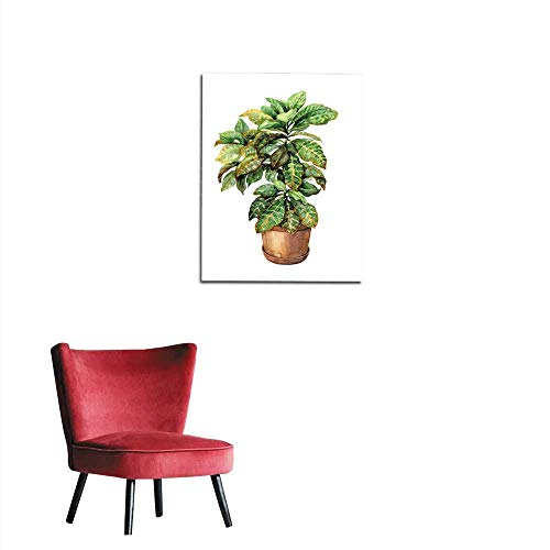 (longbuyer Painting Post Croton in Clay Flowerpot Mural 16