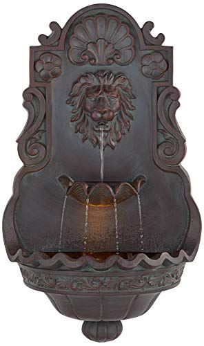 "John Timberland Lion Head 31 1/2"" High Indoor Outdoor Bronze Wall Fountain"