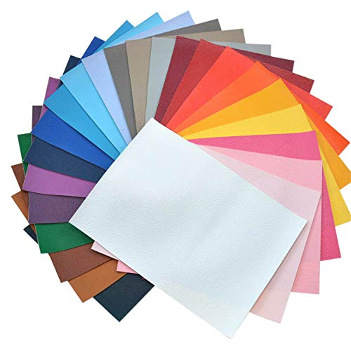 - Faux Leather Sheets for Earrings- 24 Pieces A5 Size 8 x 6 Inch(21 x 15 cm) Solid Color Litchi Grain Texture Faux Leather Fabric Sheets Cotton Back for Hair Bows, Headband, Wallet Making