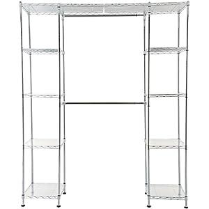 AmazonBasics Expandable Metal Hanging Storage Organizer Rack Wardrobe with Shelves, 14″-63″ x 58″-72″, Chrome
