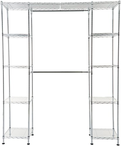 AmazonBasics Expandable Metal Hanging Storage Organizer Rack Wardrobe with Shelves, 14″-63″ x 58″-72″, Chrome