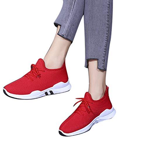 QinMM Gym Zapatillas con Running Respirable Rojo Zapatos Mujer Deportivas Deportes Cordones para Irnq8Yr7