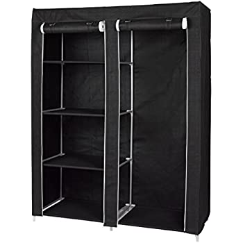 Delightful Portable Closet With 4 Shelves And Hanging Space   Wardrobe Clothes Storage  Organizer  Black Color