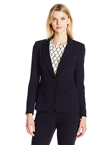 Ivanka Trump Women's One Button Jacket, Navy, 14 (Womens Navy Blue Blazer With Gold Buttons)