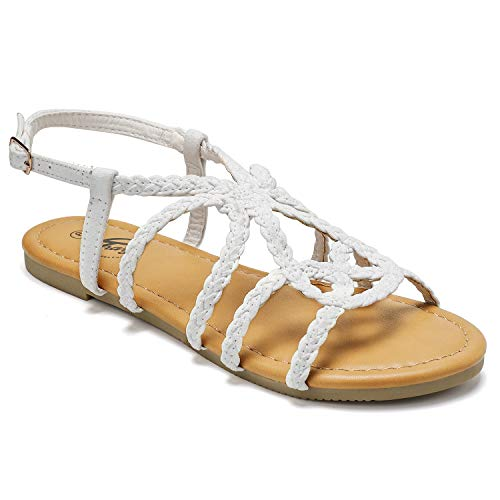(Trary Flat Sandals - Braided Strap Open Toe Summer Sandals for Women White 07)