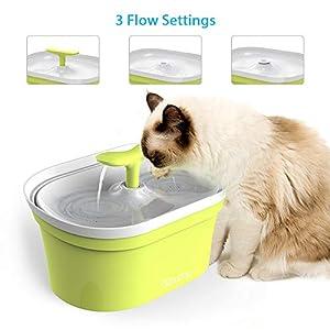 DADYPET Fuente para Gatos, Bebedero Gatos 2.8L Bebedero Silencio Automático Fuente de Agua para Mascotas Gatos Perros con Filtro de Carbón Activado