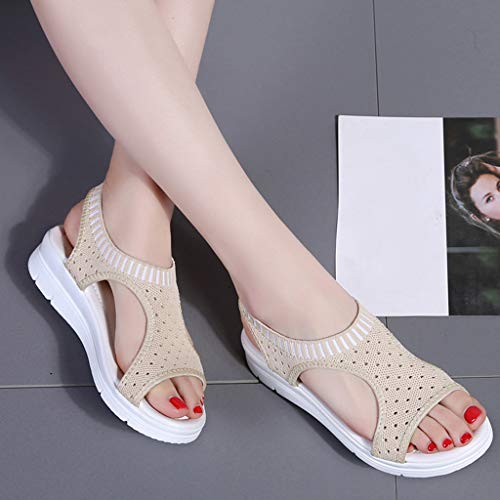CCOOfhhc Women's Flat Sandals Comfy Platform Sandal Shoes Summer Beach Travel Shoes Non-Slip Casual Shoes Beige by CCOOfhhc (Image #4)
