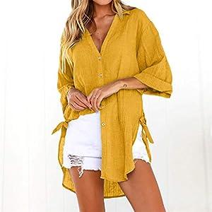 Baekoiesy Women Linen T-Shirt Summer Elegant Short Sleeve V-Neck Casual Loose Solid Color Hawaiian Shirt Blouse Shirts…